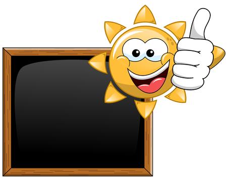 blackboard isolated: Cartoon sun thumb up blank blackboard isolated