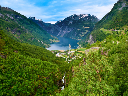 Panoramic view of Geiranger Fjord Norway