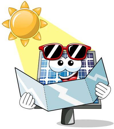 sunbathe: Happy Cartoon solar panel having sunbathe holding reflective card isolated