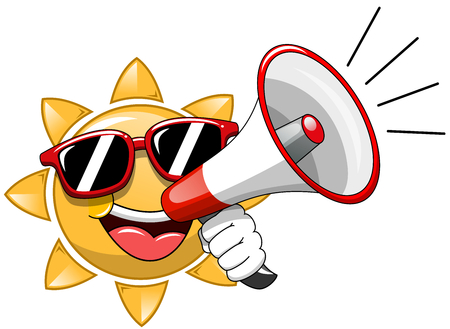 alerts: Cartoon Sun wearing sunglasses and speaking with megaphone isolated Illustration