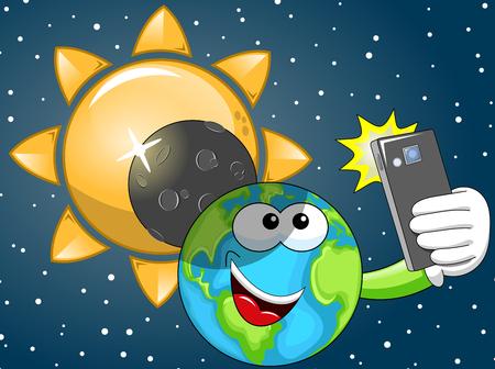 solar eclipse: Cartoon Earth taking selfie at solar eclipse