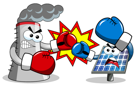 cooling tower: solar panel and cooling tower boxing isolated