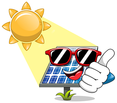 sunbathe: Happy Cartoon solar panel wearing sunglasses and having sunbathe isolated