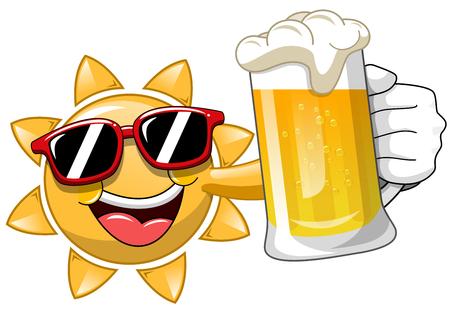 Felice fumetto Sun bere birra isolato