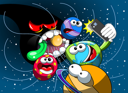 cosmology: Cartoon monster black hole eating universe while Earth taking selfie with smartphone
