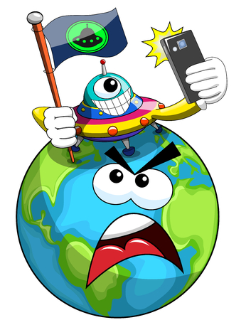 conquest: Cartoon proud ufo or alien ship craft planting flag of conquest on annoyed earth isolated Illustration