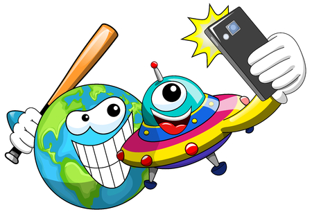 threatening: Cartoon ufo or alien ship craft taking selfie with threatening earth ready to hit it with baseball bat isolated Illustration
