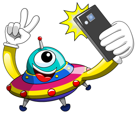 Cartoon alien or ufo spaceship taking selfie with smartphone isolated