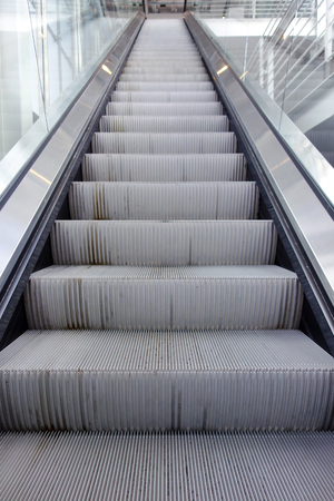rapid steel: Front view of an escalator Stock Photo