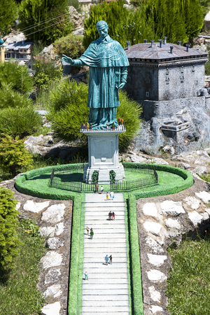 borromeo: Miniature of Saint Carlo Borromeo Statue at Italy Miniature playground in Rimini, Italy