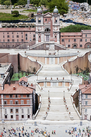 spagna: Miniature of Spanish steps piazza di Spagna at Italy Miniature playground in Rimini, Italy Editorial