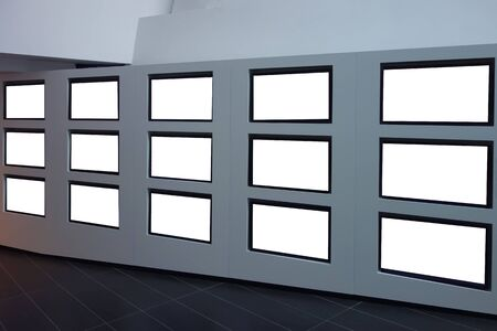 video wall: Perspective view of video wall made of flat blank tv screens