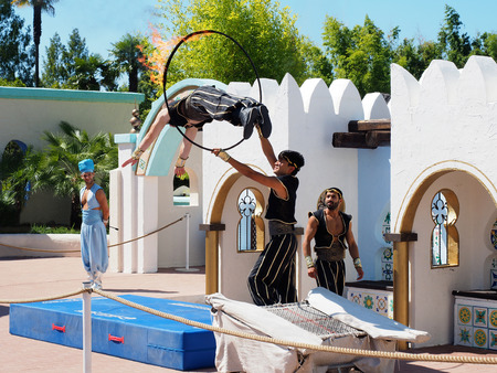 aladin: Peschiera del Garda, Italy - August 2016: Aladin show exhibition at amusement park Gardland Editorial