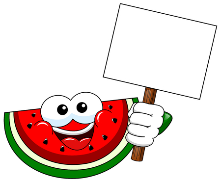 whitespace: Cartoon watermelon holding blank banner isolated