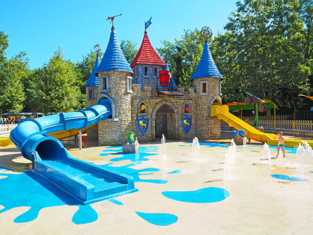 Peschiera del Garda, Italy - August 2016: Acqua fun castle at Gardaland an amusement park