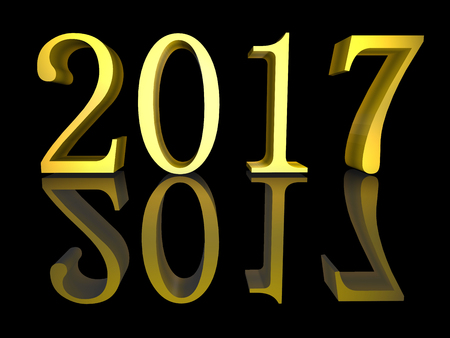 festive occasions: 3D illustration Golden text New Year 2017 isolated on black
