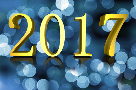 out of focus: 3D illustration Shining Golden text New Year 2016 on out of focus blue lights blurred background