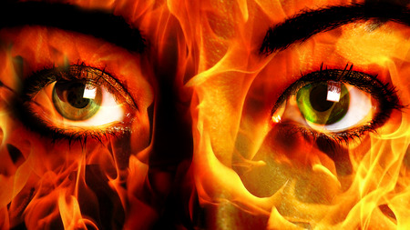 impassive: Woman Face burning Close up Stock Photo