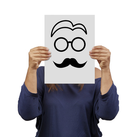 secrete: Woman behind banner with male face drawn isolated identity concept