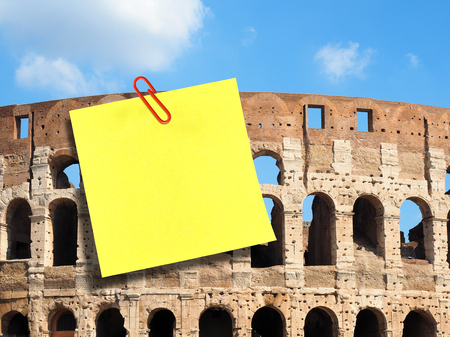 Large blank postit attached on Colosseum in Rome Stock Photo
