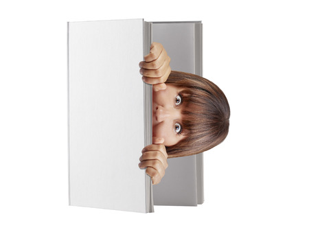 hard cover: Woman popping out from blank hard cover book looking surprised or scared isolated Stock Photo
