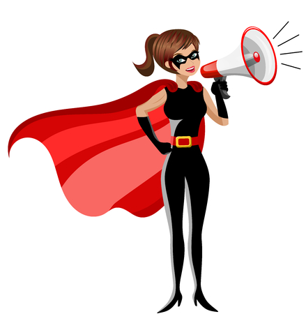 Superhero woman standing and speaking with megaphone isolated