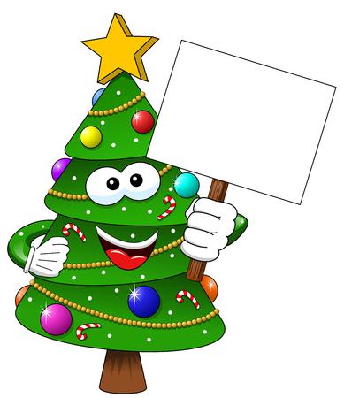 Cartoon decorated xmas tree holding blank banner isolated