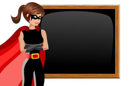 Superhero woman standing crossed arms next to blank blackboard or chalkboard isolated Illustration