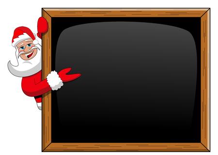 Santa claus peeping behind blank blackboard presenting isolated on white