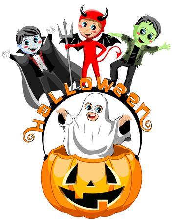 Happy kids in costume on halloween pumpkin bucket isolated