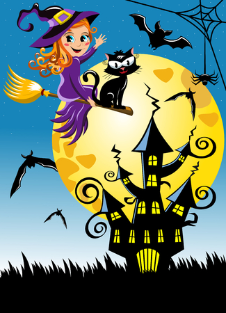 Young witch flying on a broom at halloween night vertical background