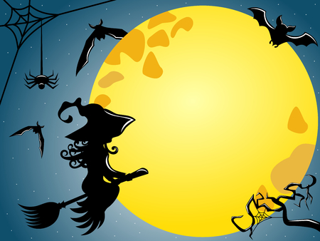 Silhouette of young witch flying on a broom against full moon copy space Illustration