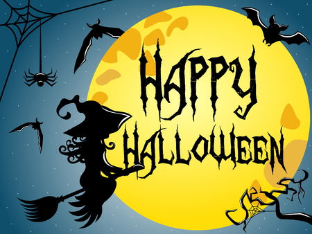 Silhouette of young witch flying on a broom against full moon with Happy Halloween text superimposed Illustration