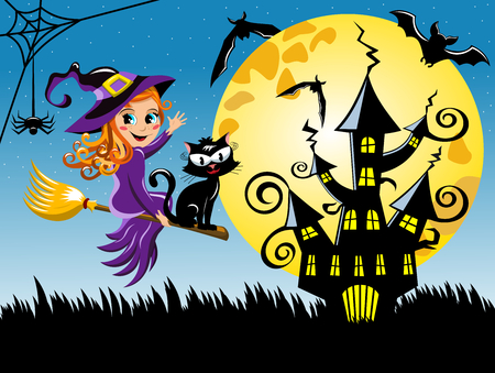 Young witch flying on a broom at halloween night horizontal background