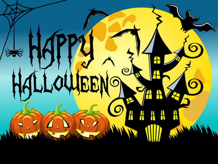 Happy halloween night horizontal background