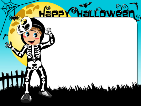 skeleton costume: Halloween photo or picture frame or border featuring kid in skeleton costume
