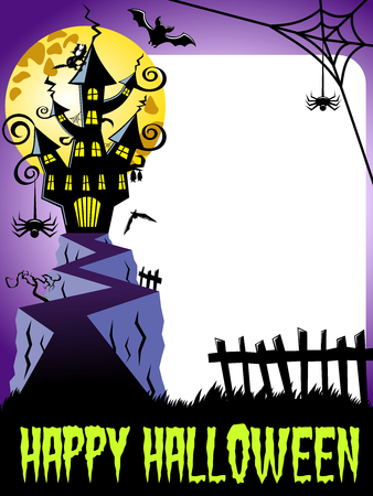 whitespace: Happy halloween photo frame vertical featuring haunted castle and big full moon Illustration