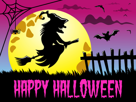 Happy Halloween background featuring silhouette of flying witch against big full moon
