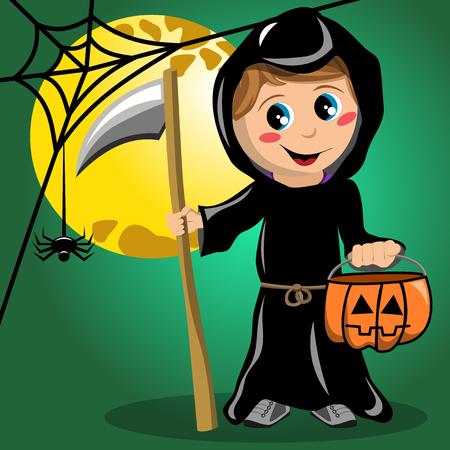 Kid in death halloween costume against full moon