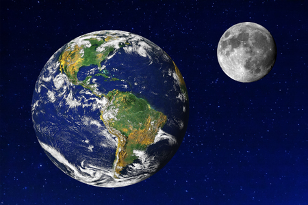 Earth and Moon in the universe. Earth and Moon images provided by NASA