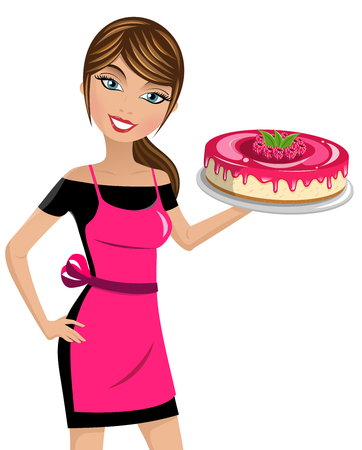 Beautiful woman cook holding cheesecake with raspberries isolated Illustration