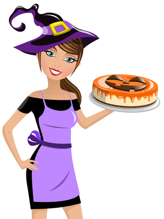 Beautiful woman wearing witch hat and holding halloween cheesecake isolated Illustration
