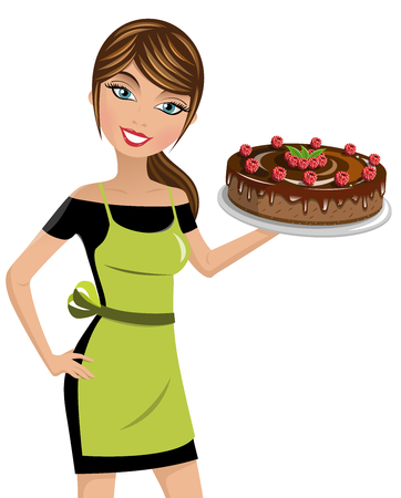 cheesecake: Beautiful woman cook holding cheesecake with raspberries and chocolate isolated