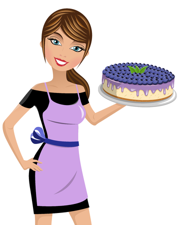 Beautiful woman cook holding cheesecake with blueberries isolated Illustration