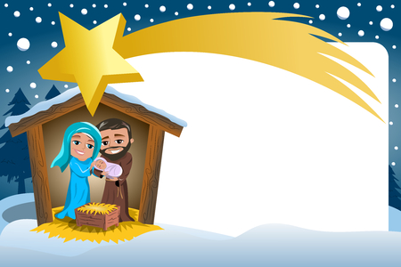 Christmas Nativity Scene in the winter Snowy Frame and big comet Illustration