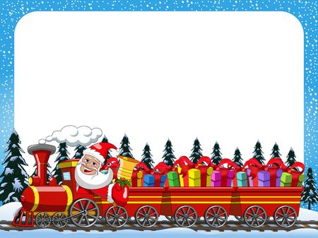 Beeldverhaal Santa Claus Delivering giften die stoomlocomotief in het sneeuw horizontale kader drijven Stock Illustratie