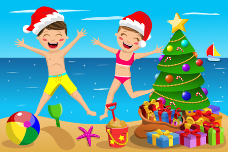 christmas present: Happy Kids wearing swimsuit and xmas hat playing and jumping at tropical beach at christmas