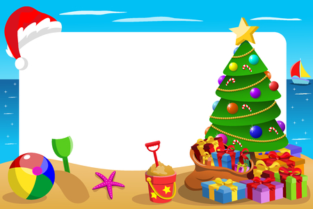 Xmas horizontal frame at tropical beach with Christmas hat hanging. Illustration