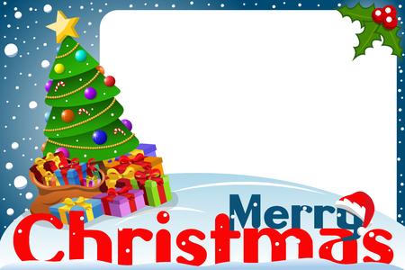 whitespace: Christmas frame xmas tree at night