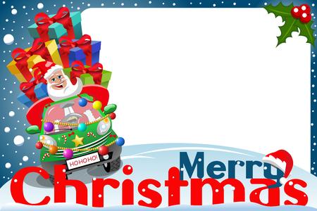 Weihnachten Rahmen mit Santa Claus Auto voller Geschenke an Weihnachten Nachtfahrten